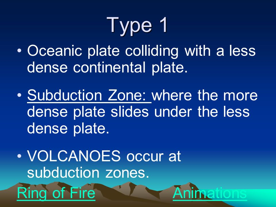 Type 1 Oceanic plate colliding with a less dense continental plate.