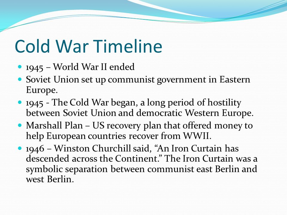 Cold War Timeline Create a timeline with the years from in 10 year ...