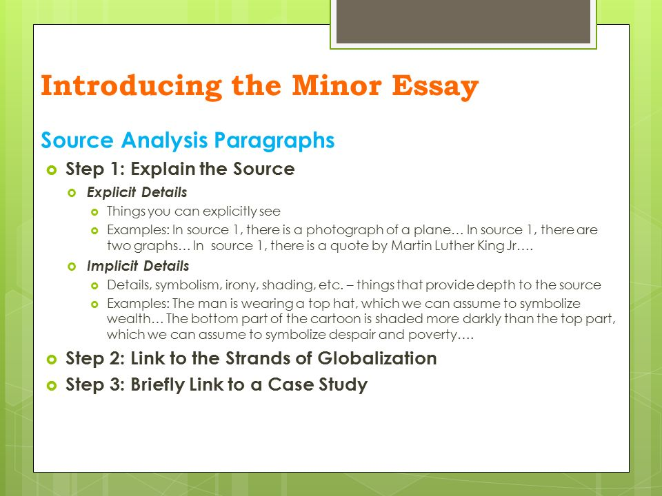 essay writing the minor essay introducing the minor essay  on  8 source