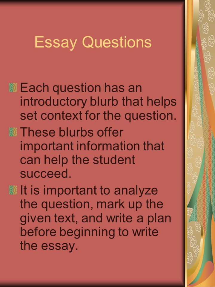Narrative Essay Topics For High School  Essay Questions  Proposal Argument Essay Examples also Research Essay Proposal Ap English Literature  Composition Free Response Section Three  Classification Essay Thesis Statement