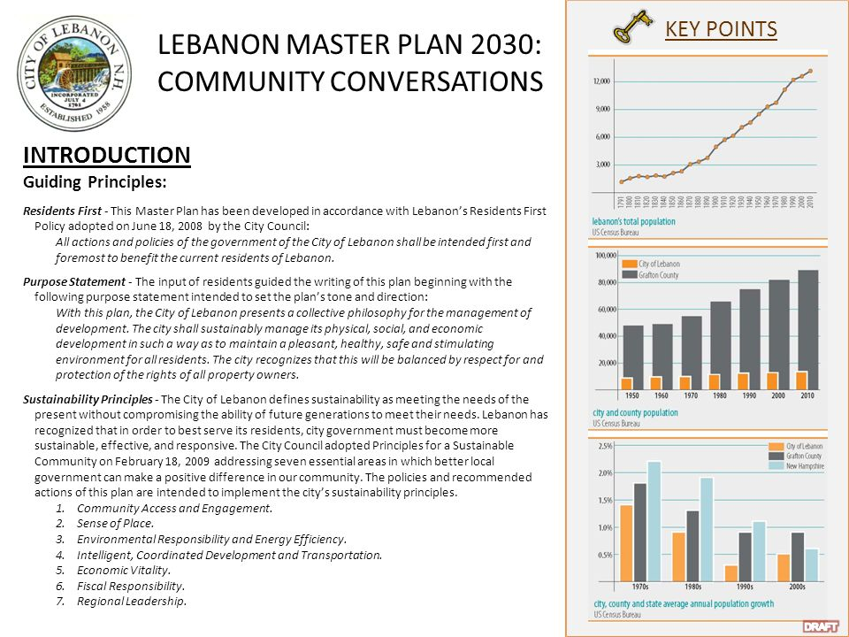 LEBANON MASTER PLAN 2030: COMMUNITY CONVERSATIONS KEY POINTS INTRODUCTION Guiding Principles: Residents First - This Master Plan has been developed in accordance with Lebanon's Residents First Policy adopted on June 18, 2008 by the City Council: All actions and policies of the government of the City of Lebanon shall be intended first and foremost to benefit the current residents of Lebanon.