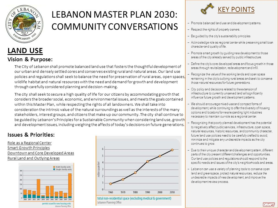 LEBANON MASTER PLAN 2030: COMMUNITY CONVERSATIONS KEY POINTS LAND USE Vision & Purpose: The City of Lebanon shall promote balanced land use that fosters the thoughtful development of our urban and densely settled cores and conserves existing rural and natural areas.
