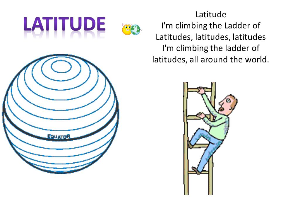 Latitude I m climbing the Ladder of Latitudes, latitudes, latitudes I m climbing the ladder of latitudes, all around the world.
