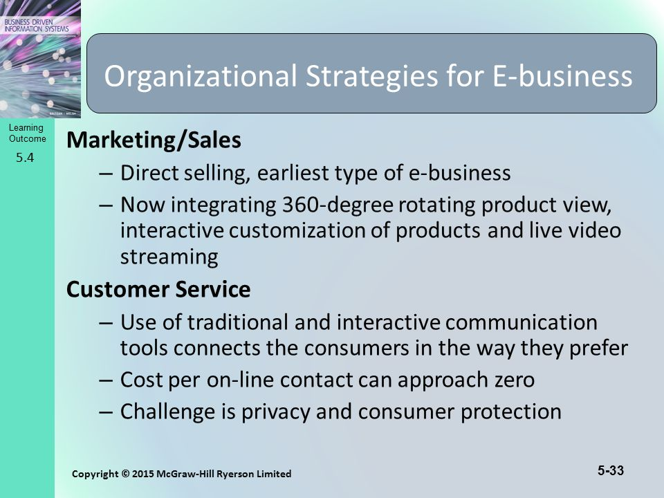 5-33 Copyright © 2015 McGraw-Hill Ryerson Limited Learning Outcome Marketing/Sales – Direct selling, earliest type of e-business – Now integrating 360