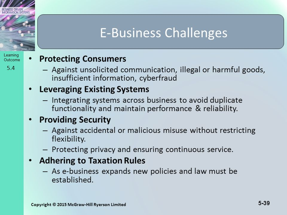 5-39 Copyright © 2015 McGraw-Hill Ryerson Limited Learning Outcome Protecting Consumers – Against unsolicited communication, illegal or harmful goods,