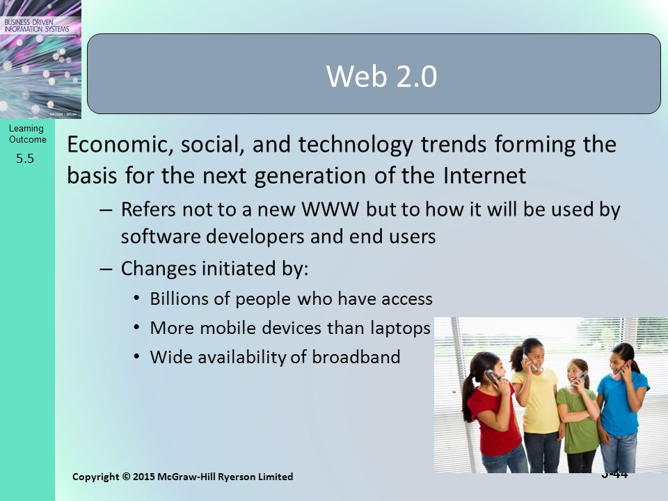 5-44 Copyright © 2015 McGraw-Hill Ryerson Limited Learning Outcome Economic, social, and technology trends forming the basis for the next generation o