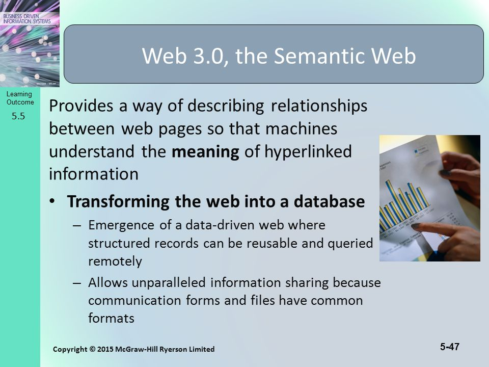 5-47 Copyright © 2015 McGraw-Hill Ryerson Limited Learning Outcome Provides a way of describing relationships between web pages so that machines under