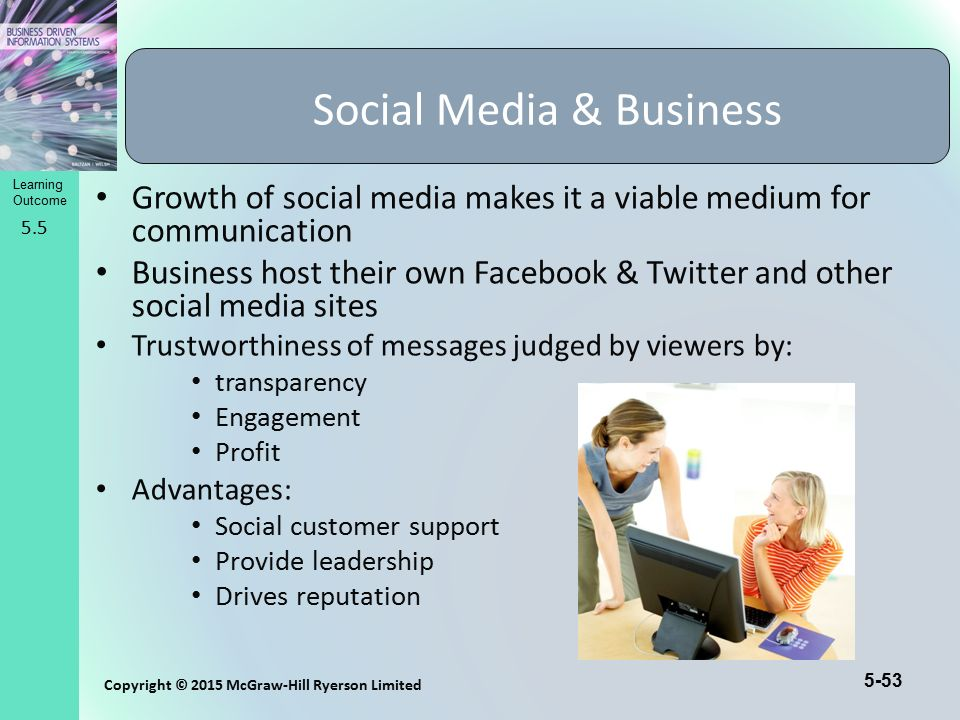 5-53 Copyright © 2015 McGraw-Hill Ryerson Limited Learning Outcome Growth of social media makes it a viable medium for communication Business host the
