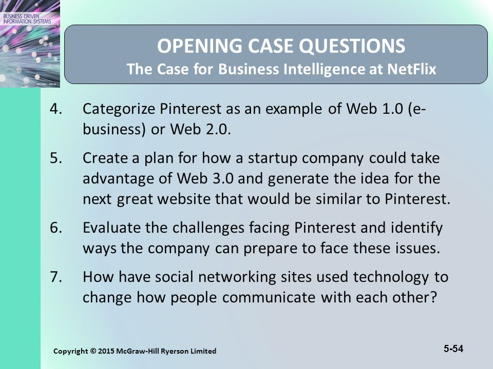 5-54 Copyright © 2015 McGraw-Hill Ryerson Limited OPENING CASE QUESTIONS The Case for Business Intelligence at NetFlix 4.Categorize Pinterest as an ex