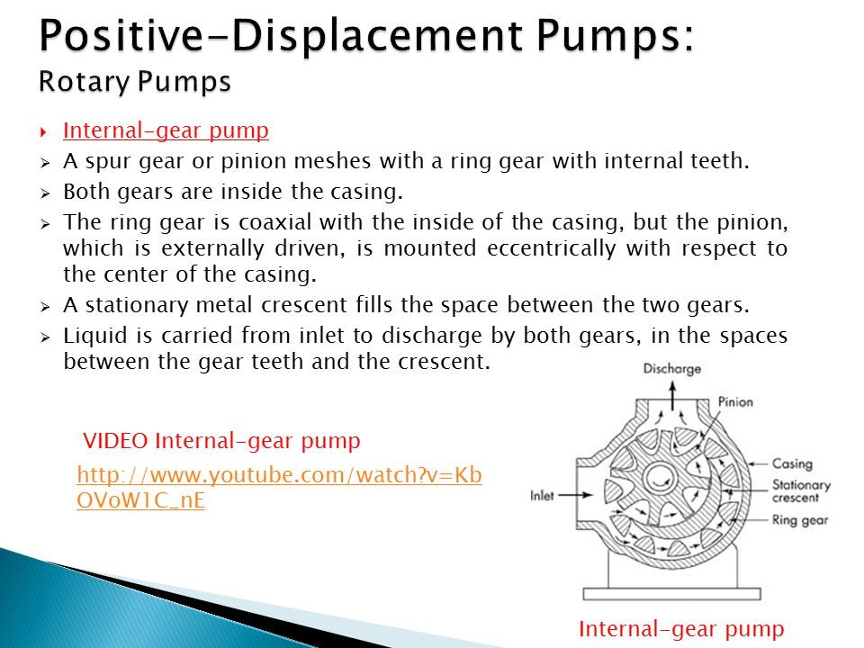  Internal-gear pump  A spur gear or pinion meshes with a ring gear with internal teeth.