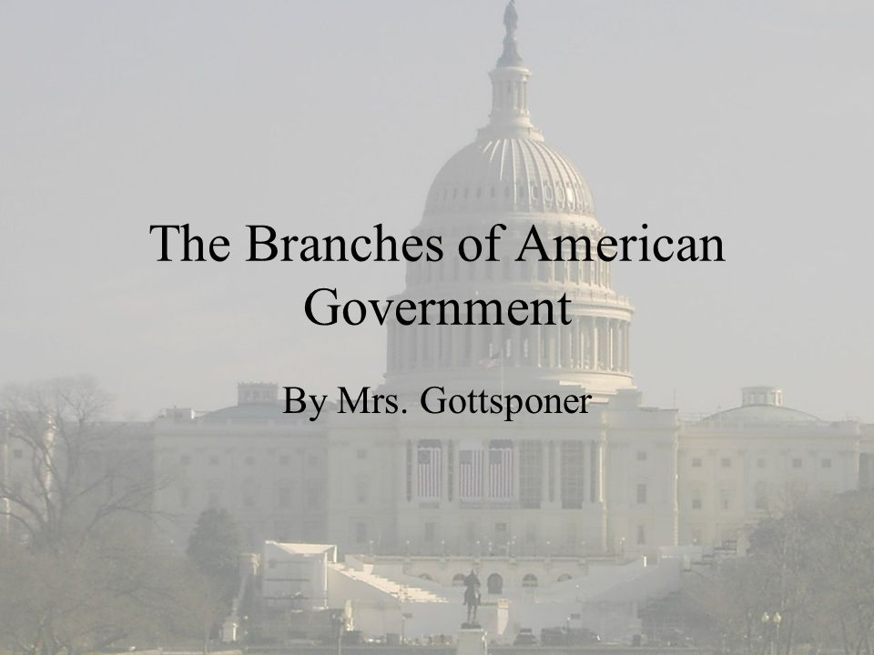 The Branches of American Government By Mrs. Gottsponer