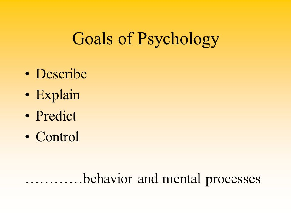 the four goals of psychology are to describe understand predict and control behavio Psychology's goals •control –how can it be changed –intervene – descriptive method –describe / predict behavior not explain.