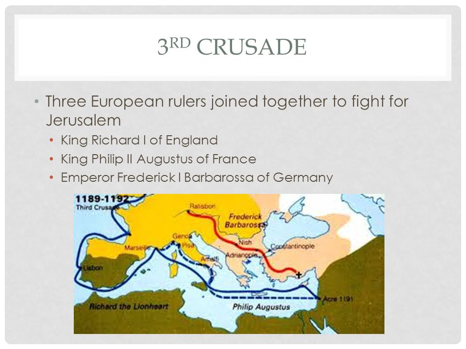 3 RD CRUSADE Three European rulers joined together to fight for Jerusalem King Richard I of England King Philip II Augustus of France Emperor Frederick I Barbarossa of Germany