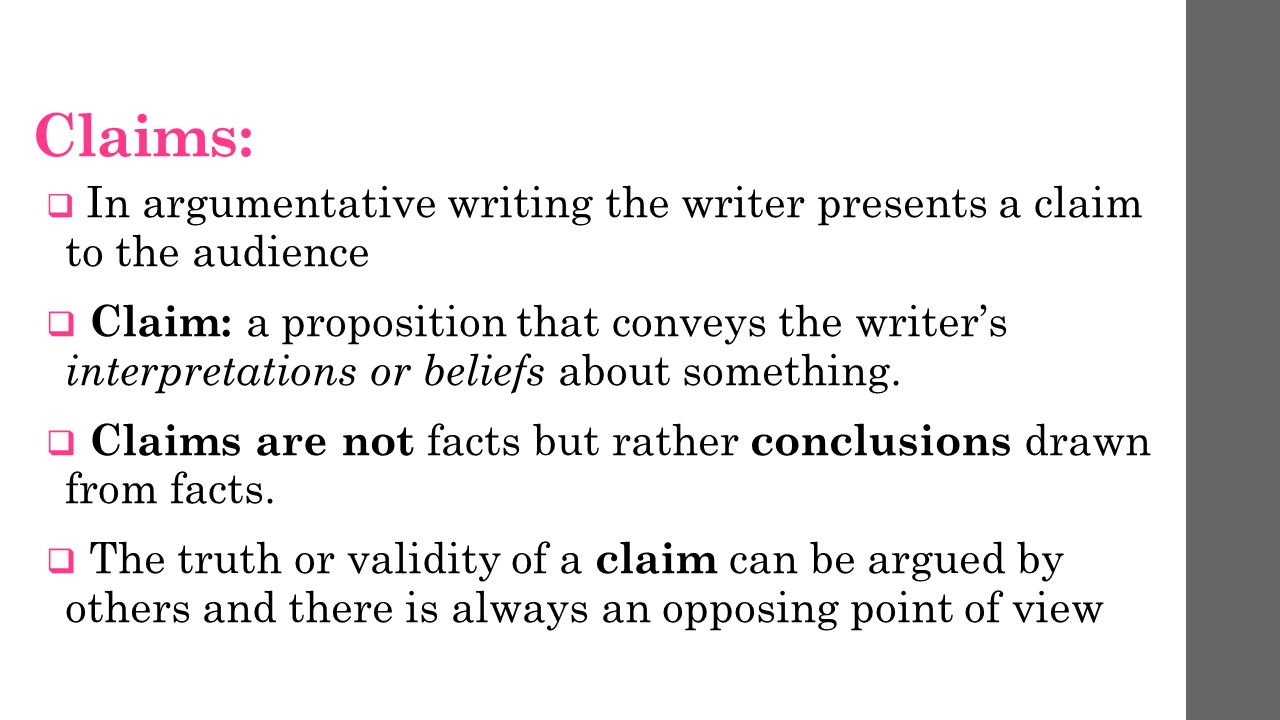 Claims in argumentative writing