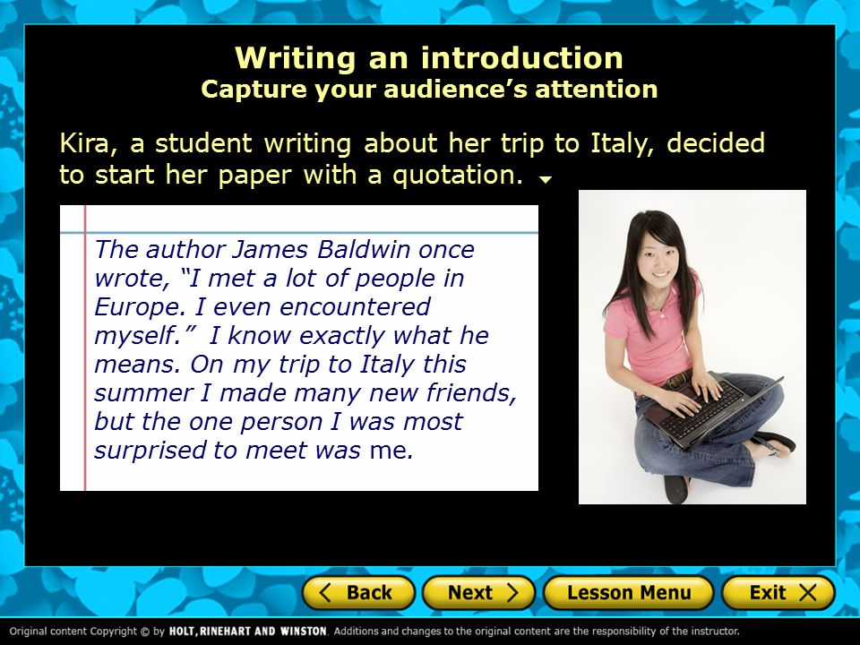 Help writing an introduction to an essay about italy?!?
