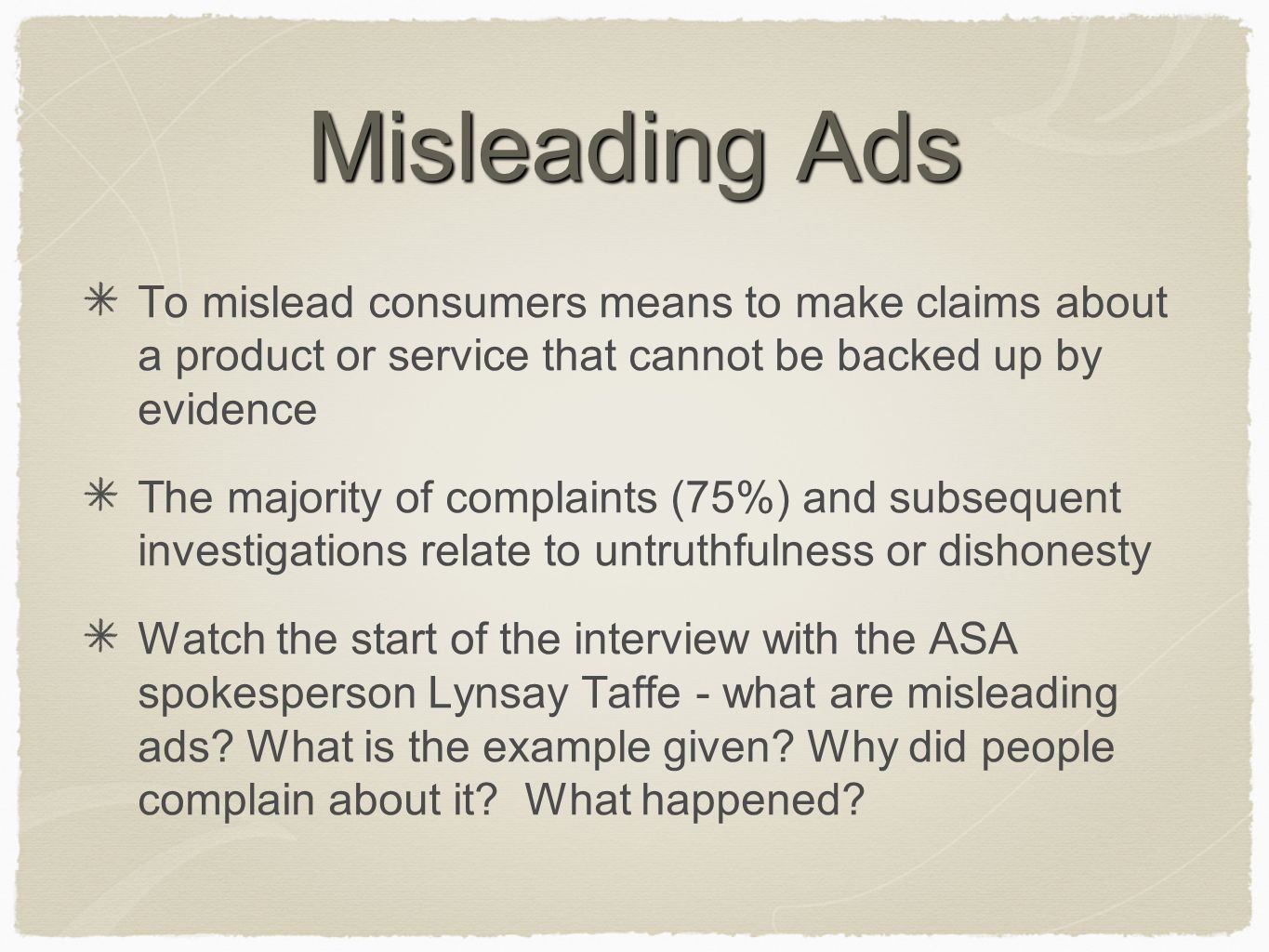 regulation regulating advertising in the uk the asa ppt misleading ads to mislead consumers means to make claims about a product or service that cannot