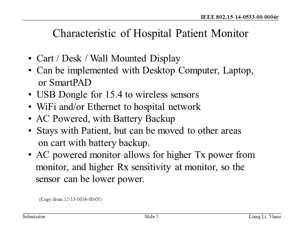 IEEE r SubmissionLiang Li, VinnoSlide 5 Characteristic of Hospital Patient Monitor Cart / Desk / Wall Mounted Display Can be implemented with Desktop Computer, Laptop, or SmartPAD USB Dongle for 15.4 to wireless sensors WiFi and/or Ethernet to hospital network AC Powered, with Battery Backup Stays with Patient, but can be moved to other areas on cart with battery backup.
