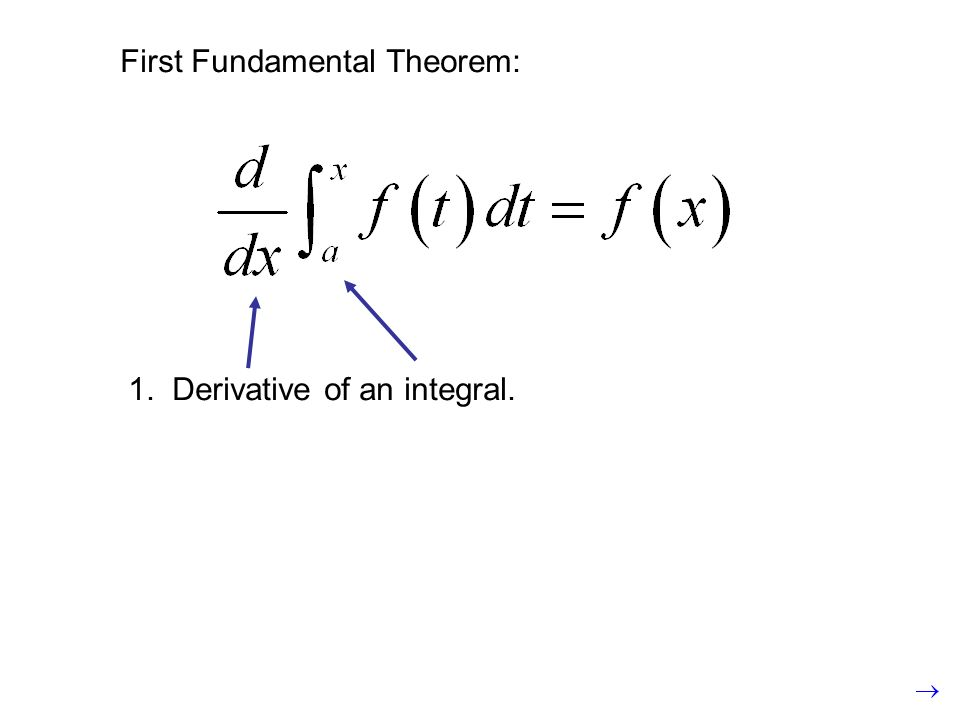 First Fundamental Theorem: 1. Derivative of an integral.