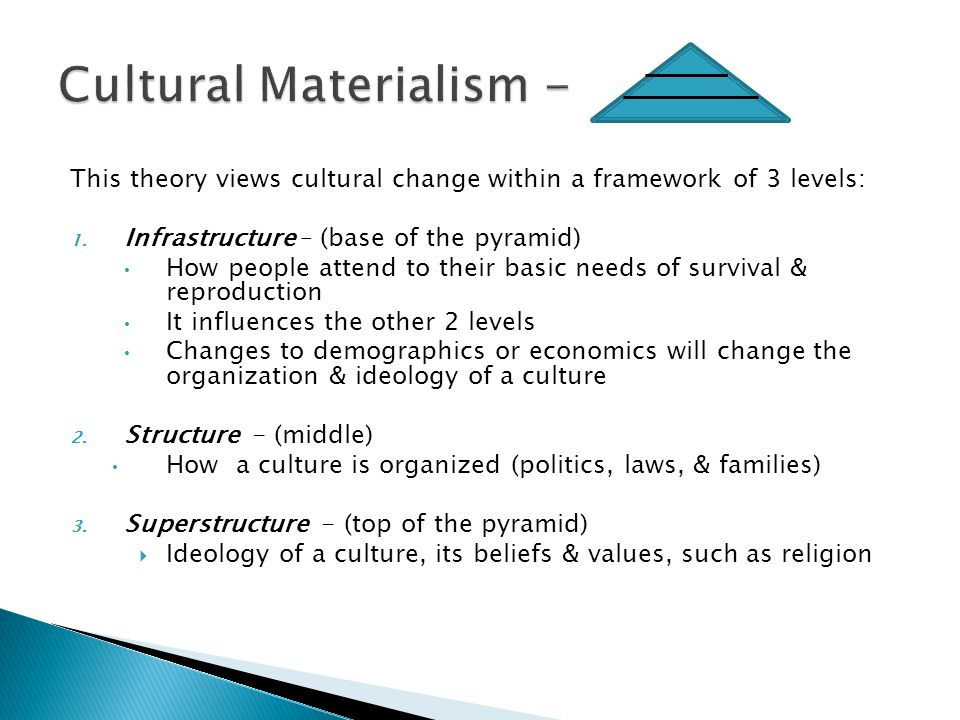 This theory views cultural change within a framework of 3 levels: 1.