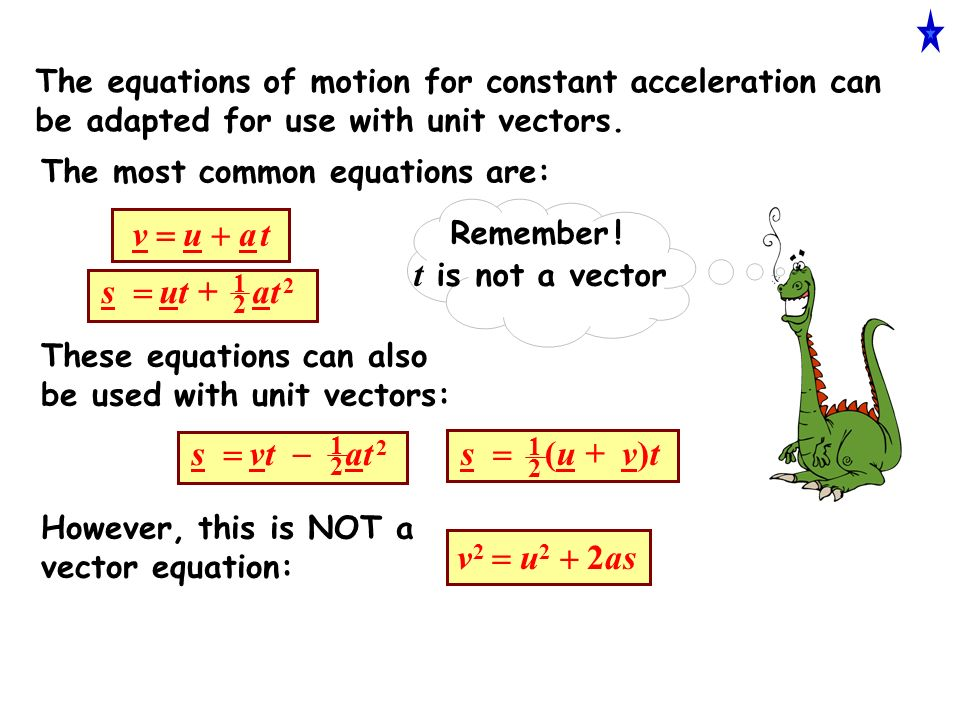 The equations of motion for constant acceleration can be adapted for use with unit vectors.