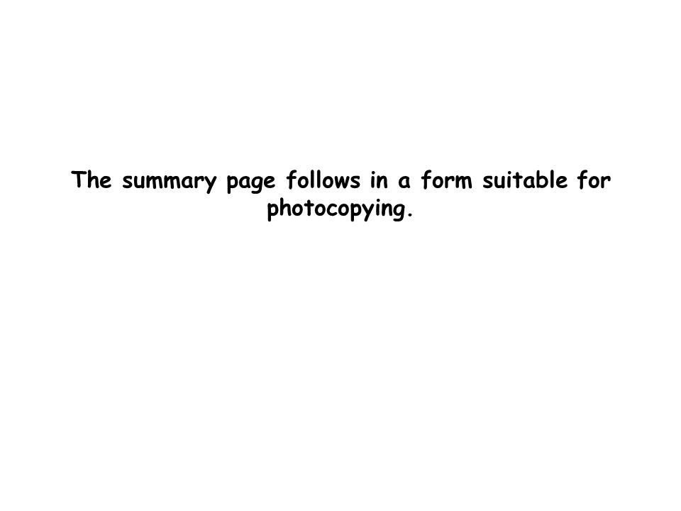 The summary page follows in a form suitable for photocopying.