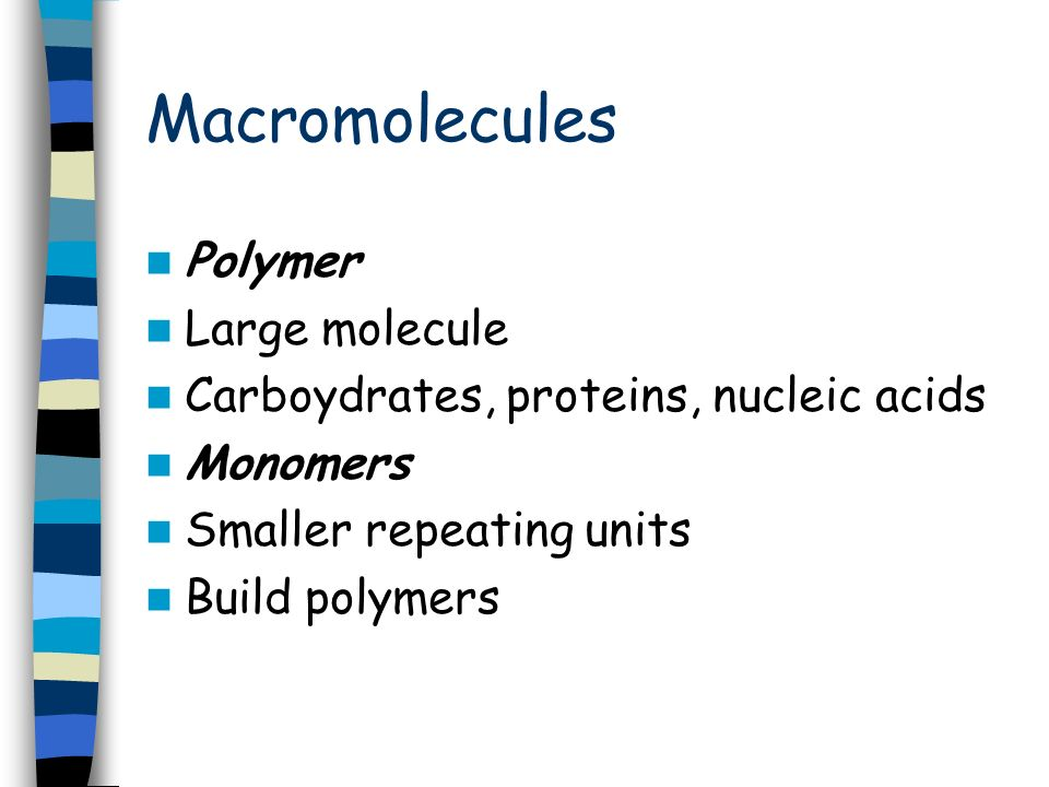 Macromolecules Chapter 5. Macromolecules Large complex molecules ...