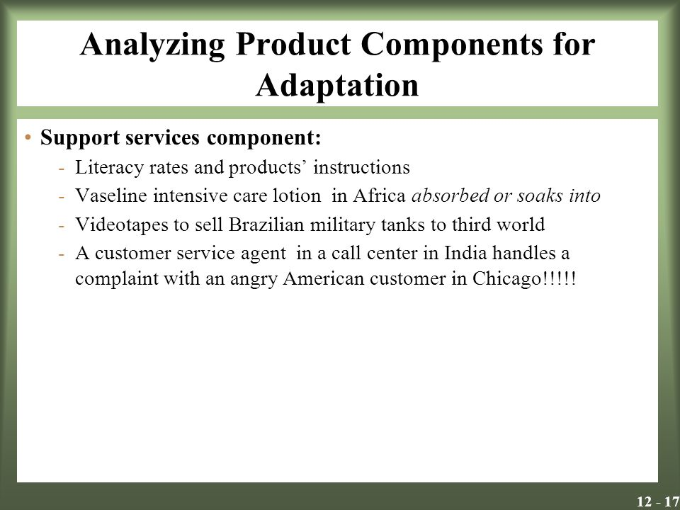 Analyzing Product Components for Adaptation Support services component: -Literacy rates and products' instructions -Vaseline intensive care lotion in Africa absorbed or soaks into -Videotapes to sell Brazilian military tanks to third world -A customer service agent in a call center in India handles a complaint with an angry American customer in Chicago!!!!!