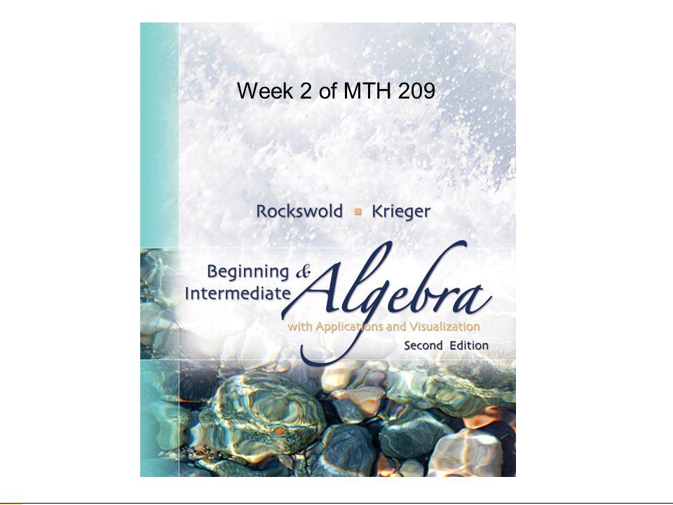 Week 2 of MTH 209