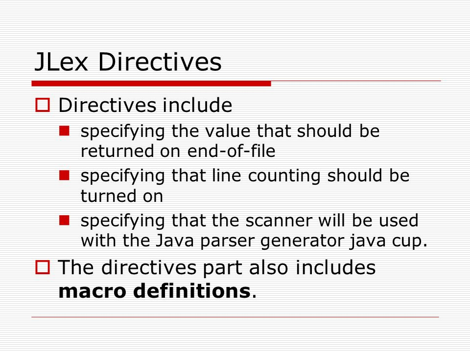 CPSC 388 – Compiler Design and Construction Scanners – JLex Scanner ...