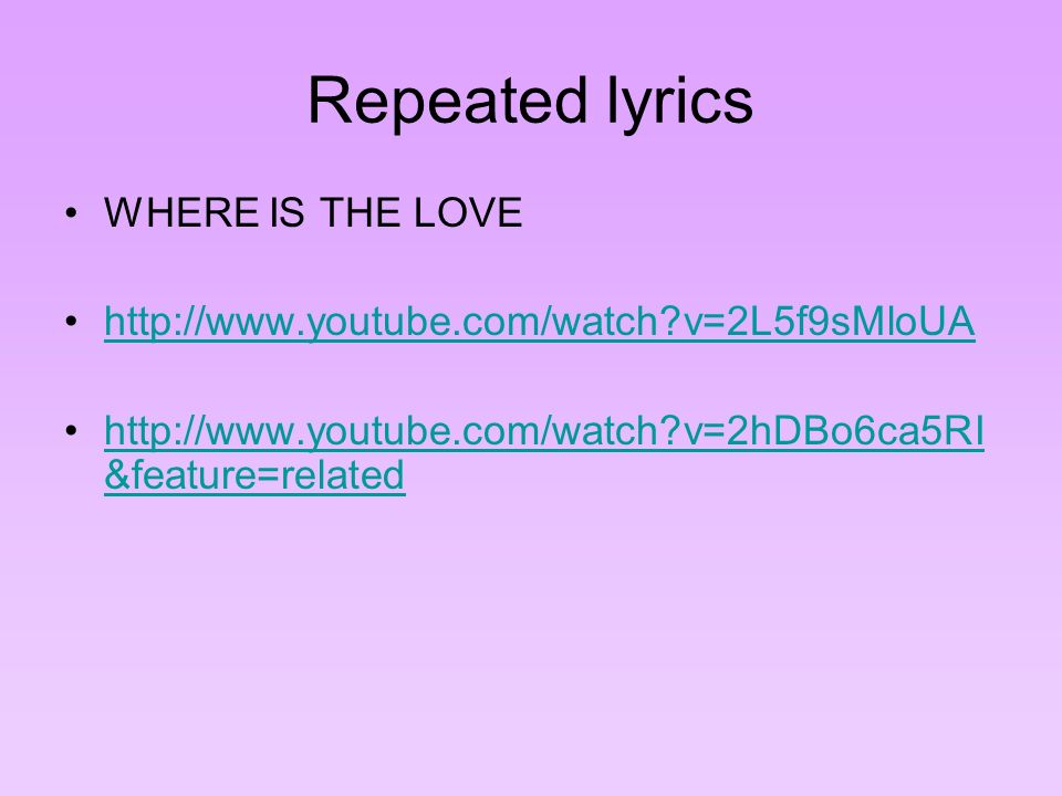 where is the love lyrics