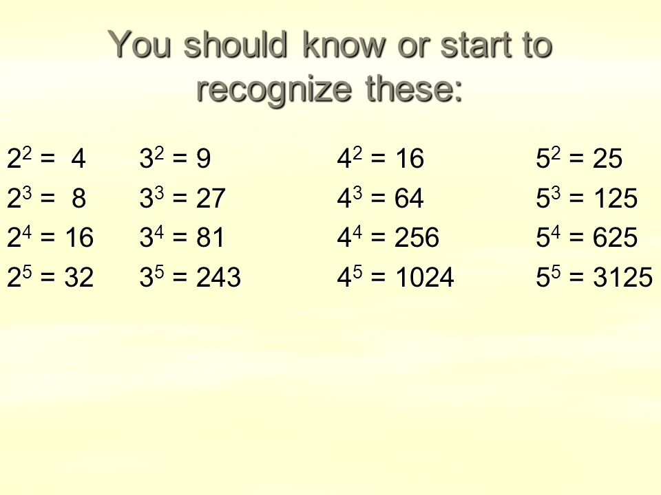 You should know or start to recognize these: 2 2 = 43 2 = 94 2 = = = 83 3 = = = = = = = = = = = 3125