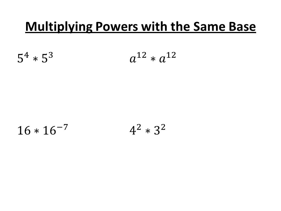 Multiplying Powers with the Same Base