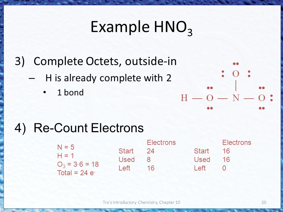 Tro s Introductory Chemistry, Chapter 1020 Example HNO 3 3)Complete Octets, outside-in – H is already complete with 2 1 bond 4)Re-Count Electrons N = 5 H = 1 O 3 = 3∙6 = 18 Total = 24 e - Electrons Start24 Used8 Left16 Electrons Start16 Used16 Left0