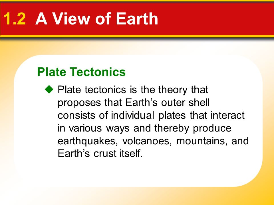 Plate Tectonics 1.2 A View of Earth  Plate tectonics is the theory that proposes that Earth's outer shell consists of individual plates that interact in various ways and thereby produce earthquakes, volcanoes, mountains, and Earth's crust itself.
