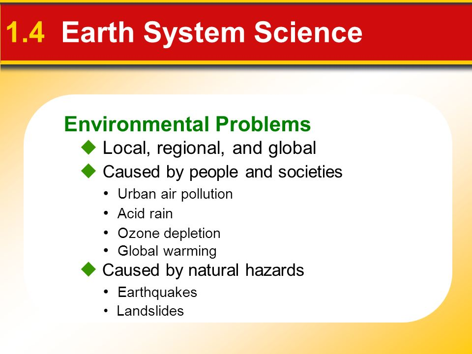 Environmental Problems 1.4 Earth System Science  Caused by people and societies Urban air pollution Acid rain  Caused by natural hazards Landslides Ozone depletion Global warming Earthquakes  Local, regional, and global