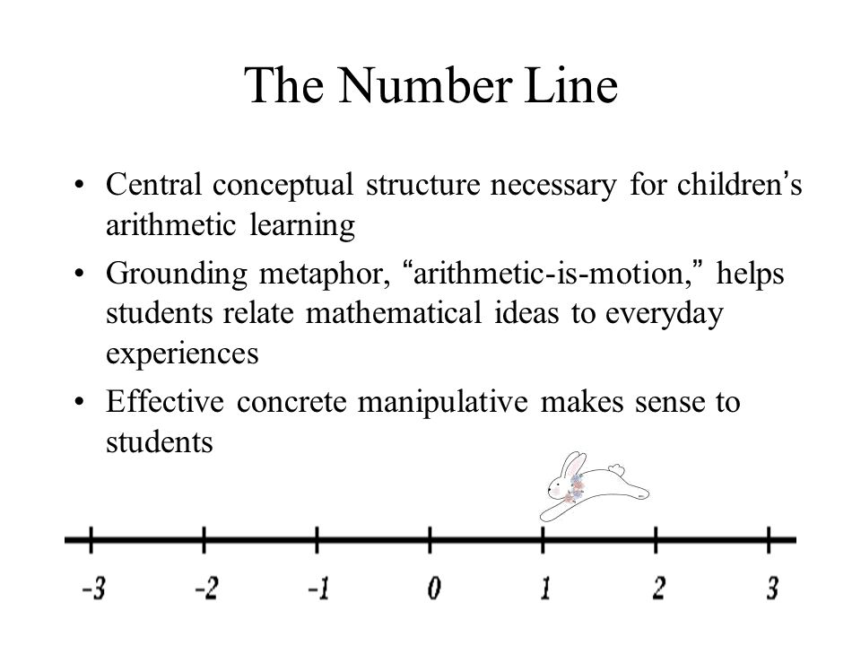5 The Number Line Central conceptual structure necessary for children ' s arithmetic learning Grounding metaphor, arithmetic-is-motion, helps students relate mathematical ideas to everyday experiences Effective concrete manipulative makes sense to students