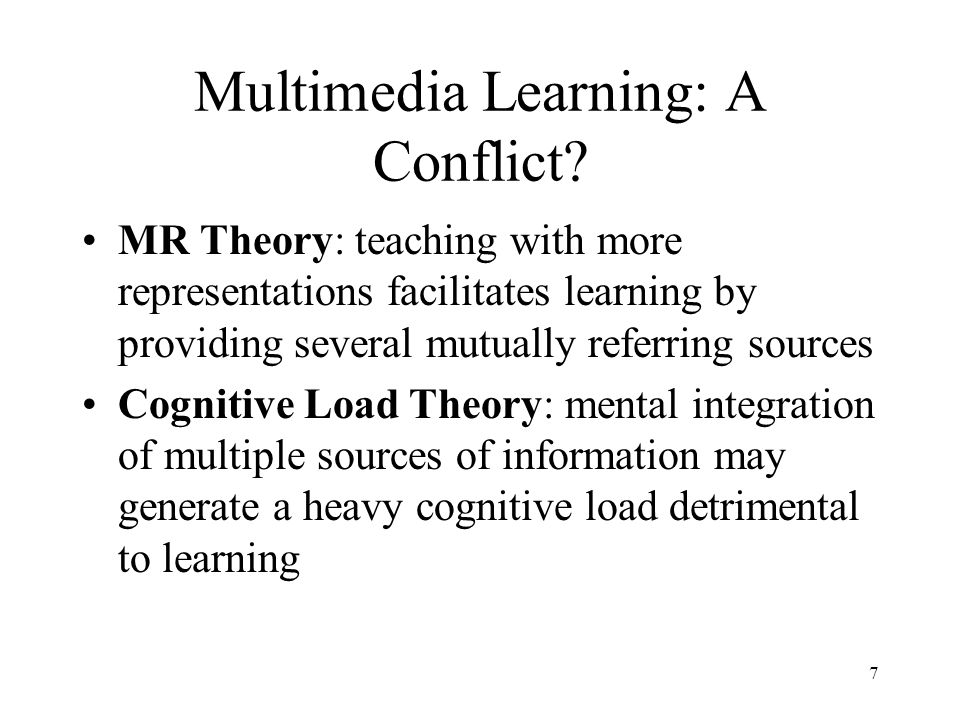 7 Multimedia Learning: A Conflict.