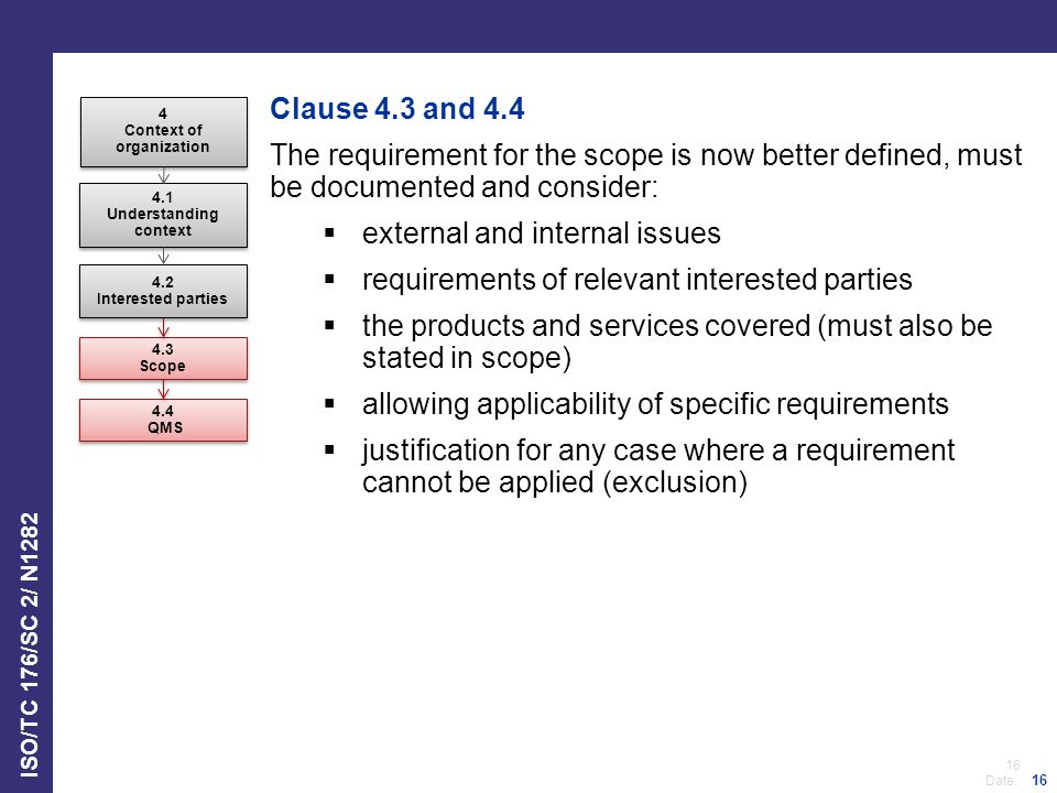 16 Date: ISO/TC 176/SC 2/ N1282 16 Clause 4.3 and 4.4 The requirement for the scope is now better defined, must be documented and consider:  external and internal issues  requirements of relevant interested parties  the products and services covered (must also be stated in scope)  allowing applicability of specific requirements  justification for any case where a requirement cannot be applied (exclusion) 4 Context of organization 4 Context of organization 4.1 Understanding context 4.1 Understanding context 4.2 Interested parties 4.2 Interested parties 4.3 Scope 4.3 Scope 4.4 QMS 4.4 QMS