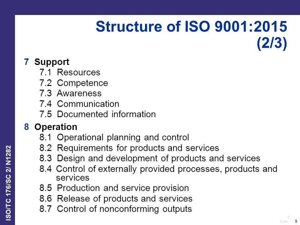 9 Date: ISO/TC 176/SC 2/ N1282 9 Structure of ISO 9001:2015 (2/3) 7 Support 7.1 Resources 7.2 Competence 7.3 Awareness 7.4 Communication 7.5 Documented information 8 Operation 8.1 Operational planning and control 8.2 Requirements for products and services 8.3 Design and development of products and services 8.4Control of externally provided processes, products and services 8.5 Production and service provision 8.6 Release of products and services 8.7 Control of nonconforming outputs