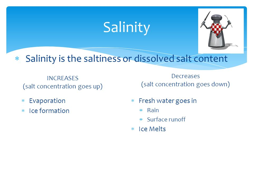 Salinity INCREASES (salt concentration goes up)  Evaporation  Ice formation Decreases (salt concentration goes down)  Fresh water goes in  Rain  Surface runoff  Ice Melts