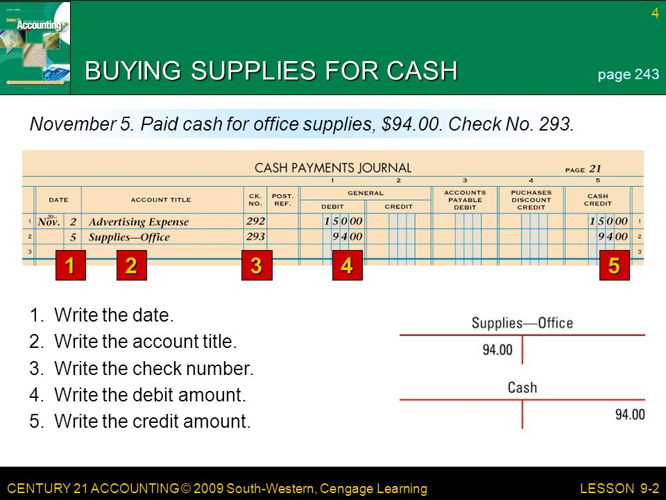 CENTURY 21 ACCOUNTING © 2009 South-Western, Cengage Learning 4 LESSON 9-2 BUYING SUPPLIES FOR CASH page 243 November 5.
