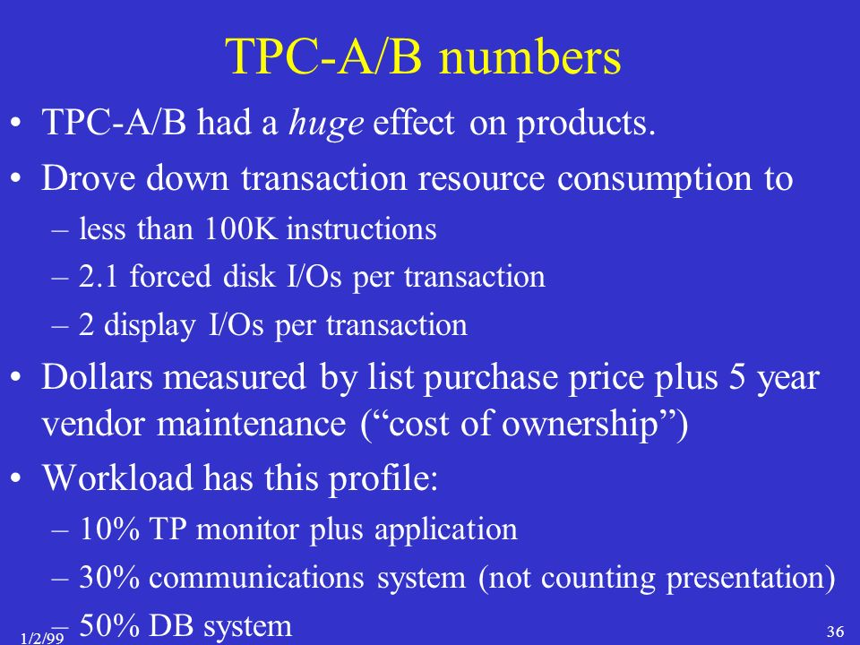 1/2/99 36 TPC-A/B numbers TPC-A/B had a huge effect on products.
