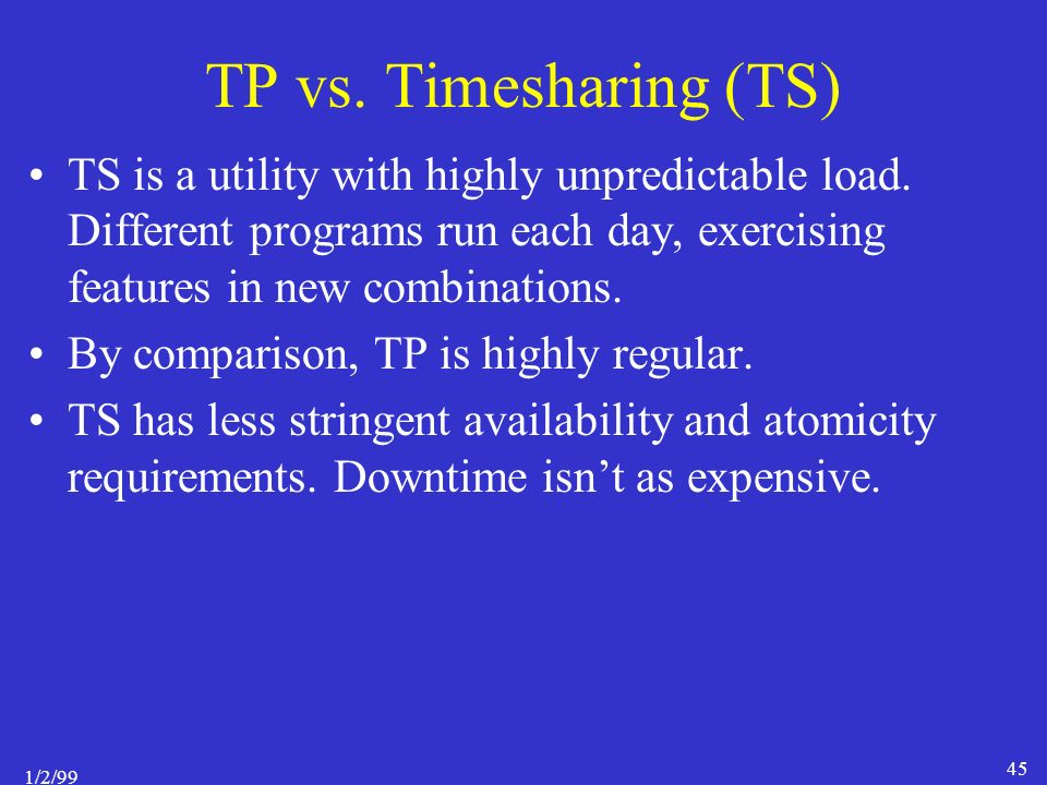 1/2/99 45 TP vs. Timesharing (TS) TS is a utility with highly unpredictable load.