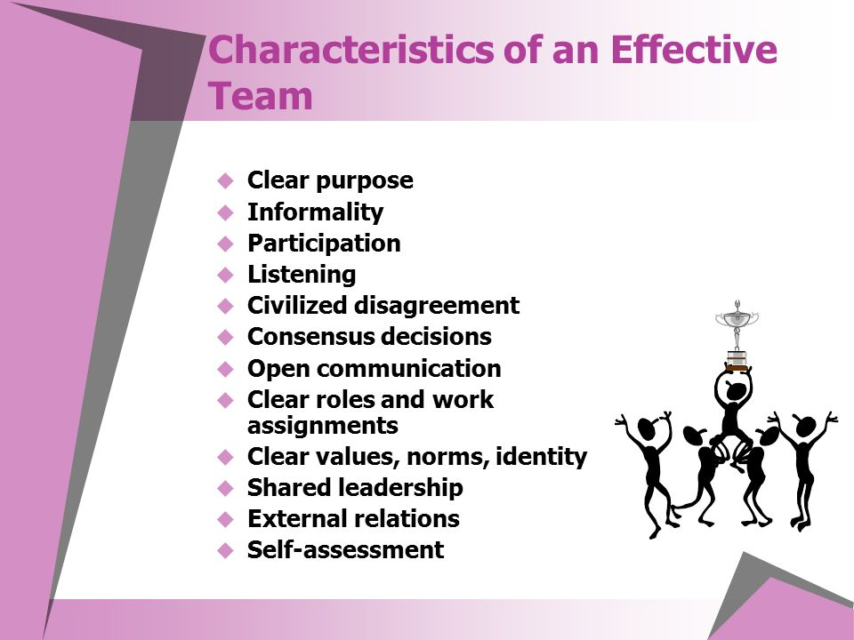 Characteristics of an Effective Team  Clear purpose  Informality  Participation  Listening  Civilized disagreement  Consensus decisions  Open communication  Clear roles and work assignments  Clear values, norms, identity  Shared leadership  External relations  Self-assessment