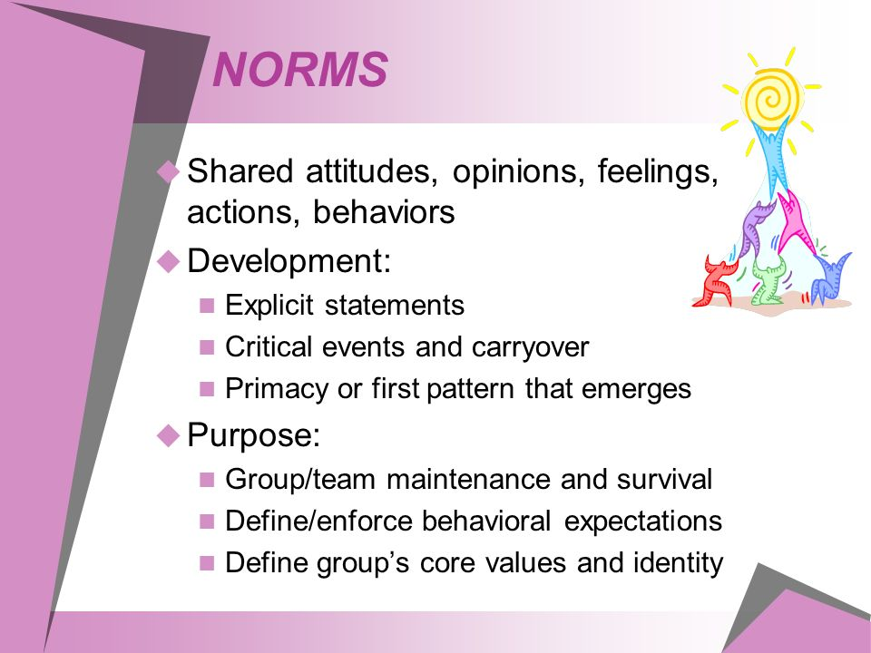 NORMS  Shared attitudes, opinions, feelings, actions, behaviors  Development: Explicit statements Critical events and carryover Primacy or first pattern that emerges  Purpose: Group/team maintenance and survival Define/enforce behavioral expectations Define group's core values and identity