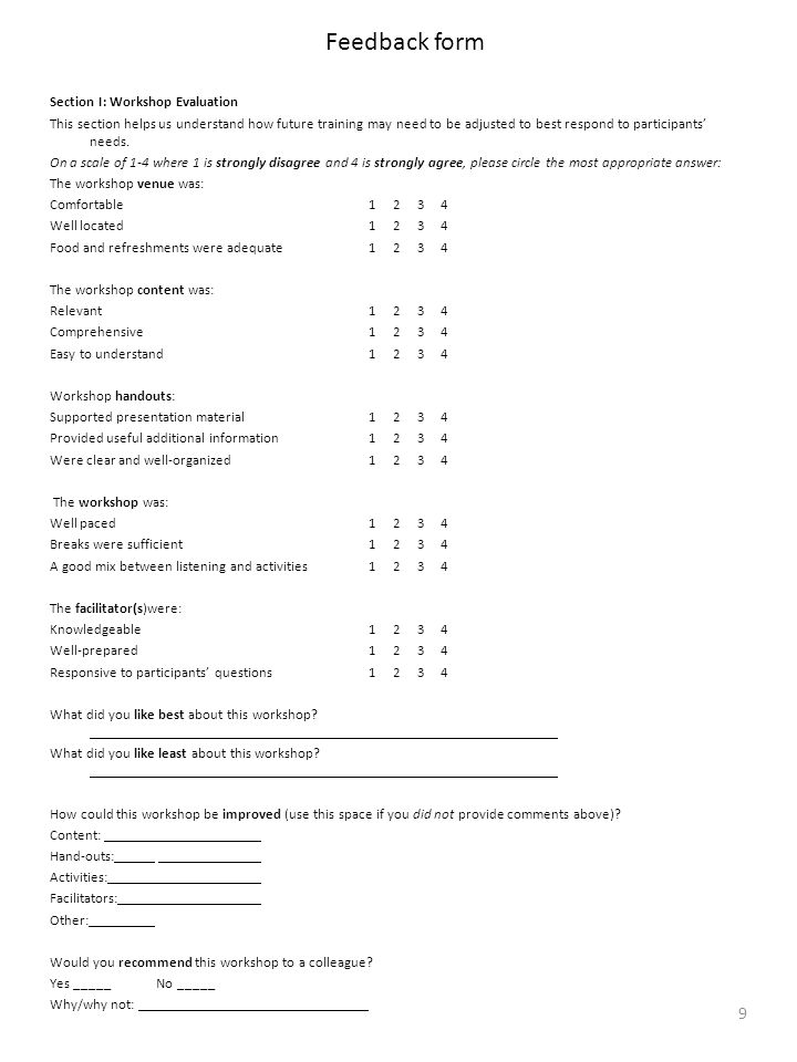 Workshop Feedback Form Templates For Ms Word | Word & Excel