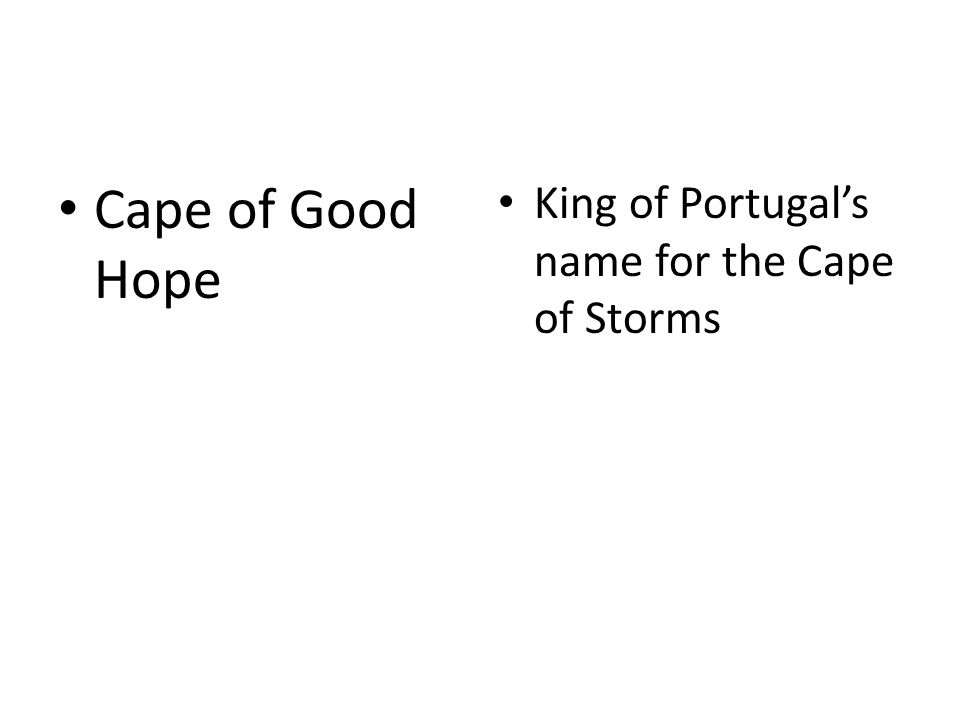 Cape of Good Hope King of Portugal's name for the Cape of Storms