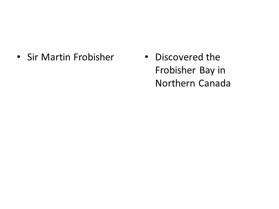 Sir Martin Frobisher Discovered the Frobisher Bay in Northern Canada