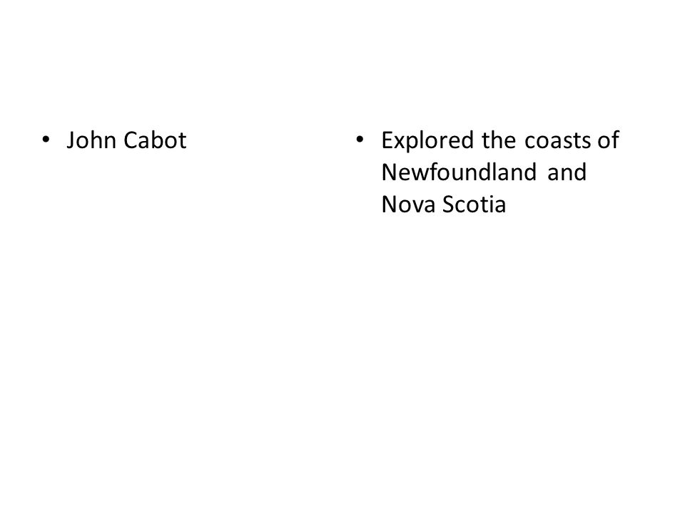 John Cabot Explored the coasts of Newfoundland and Nova Scotia