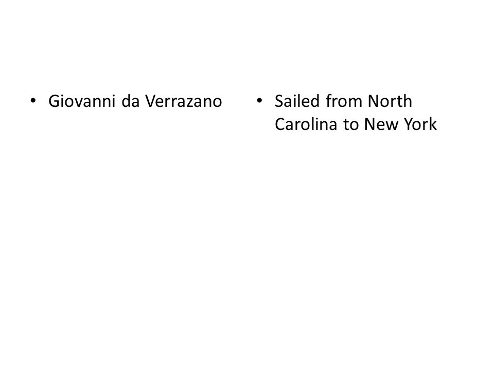 Giovanni da Verrazano Sailed from North Carolina to New York